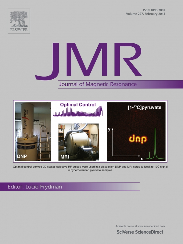 The cover page of Journal of Magnetic Resonance features work performed at the DRCMR